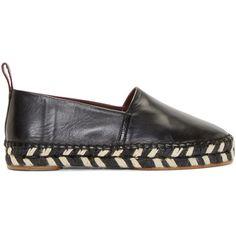 Proenza Schouler Black Leather Slip-On Espadrilles (3.580 NOK) ❤ liked on Polyvore