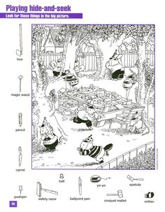 Google+ Hidden Object Puzzles, Hidden Picture Puzzles, Hidden Objects, Highlights Hidden Pictures, Hidden Pictures Printables, Art Lessons Elementary, Puzzles For Kids, Colouring Pages, Perception