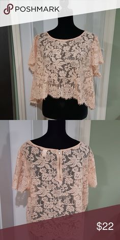 Lace Crop Top Lace blush pink floral lace Torrid size 2   sold out item on torrid Torrid Tops Crop Tops