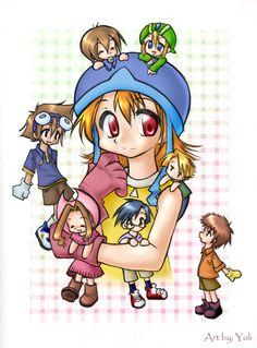 Sora + chibi digi-destined by yolichan