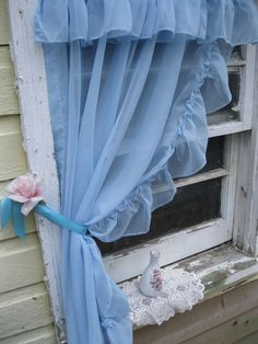 Dress up any window in Frilly Blue