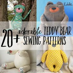 20 Adorable Teddy Bear Sewing Patterns Small Teddy Bears, Baby Teddy Bear, Teddy Bear Clothes, Cute Teddy Bears, Teddy Bear Template, Teddy Bear Patterns Free, Teddy Bear Sewing Pattern, Sewing Stuffed Animals, Stuffed Animal Patterns