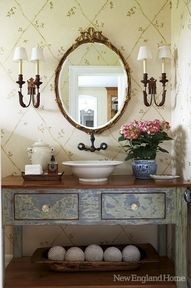 Powder room beauty - Decoration for House Bad Inspiration, Bathroom Inspiration, New England Homes, Vessel Sink, House And Home Magazine, Beautiful Bathrooms, Painted Furniture, Vintage Furniture, Sweet Home