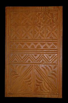 Tapa Design Board (upeti) Samoa 1960s, Pulliam Collection Carved wood upeti, like this example, have been the dominant form used for the rubbing method (siapo 'elei) since the 1920s. Prior to that time, upeti were created by sewing pieces of coconut midrib, bamboo strips, and sennit on a rectangular section of pandanus leaves, which would be secured to a board for the transfer process...