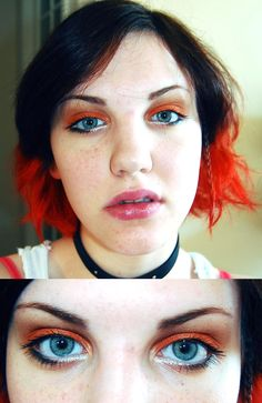 orange hair and makeup for everyday