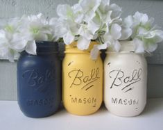 Painted and Distressed Ball Mason Jars- Yellow, Navy Blue and Cream-Set of 3-Flower Vases, Rustic Wedding, Centerpieces