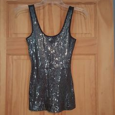 Express front sequined tank top EUC Express from sequined tank top..chocolate brown Express Tops Tank Tops