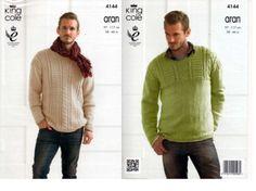 Knitting-Pattern-Leaflet-King-Cole-4144-Mens-Aran-Jumpers-Leaflet