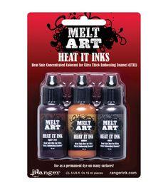 Melt Art Heat It Dye Inks .5oz 3/Pkg-Majestic Gems-Onyx, Tiger Eye