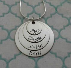 Hand stamped 4 disk custom necklace with birth by SouthernCharmJS, $21.00