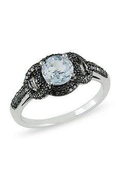 10K White Gold Aquamarine & Pave Black Diamond Ring