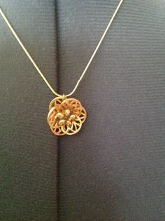 """Vintage jewelry upcycled into pendant on 18"""" gold plate chain.  $25."""