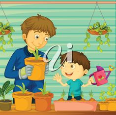 iCLIPART - Royalty Free Clip Art Illustration of a Father and Son Gardening