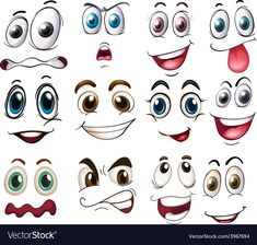 Similar Images, Stock Photos & Vectors of Large set of people cartoon eyes depicting a variety of expressions with anger, sadness, surprise and happiness with blue irises, vector illustration on white - 227980597 Silly Faces, Funny Faces, Visage Halloween, Cartoon Eyes Drawing, Drawing Faces, Cartoon Faces Expressions, Face Template, Rock Painting Patterns, Rock Crafts