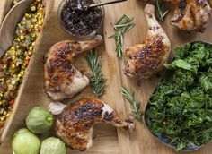 Brined Chicken with Tomatillo Corn Relish & Sautéed Kale – The Oil Tree