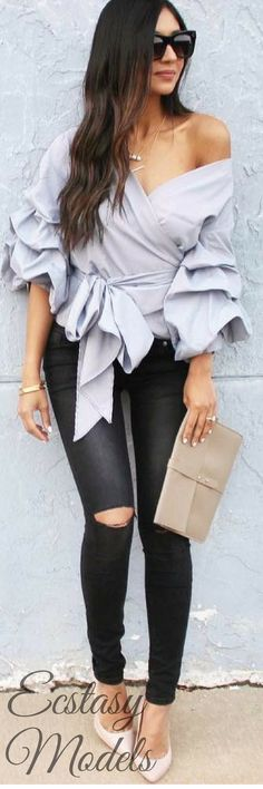 Enchanting Echo Wrapped Top by Chic Wish // Fashion Look by  Farheen Ebrahim