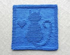 CAT & HEART Knit Dishcloth, Hand Knitted Unique Design, Royal Blue 100% Cotton Dish Cloth / Wash Cloth, Hostess Gift, Cat Lover Gift