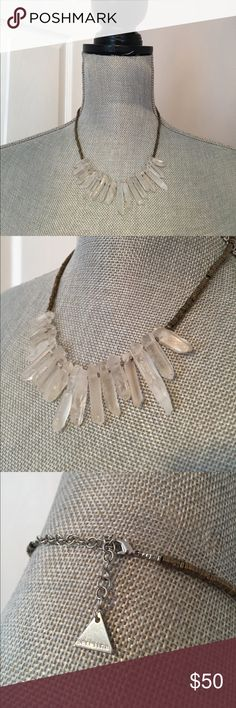 """Anthro Quartz Necklace Simple & chic! Materials: Plated brass, raw quartz, hematite. Lobster clasp. 14""""L with 2"""" extender chain, 3""""W Anthropologie Jewelry Necklaces"""