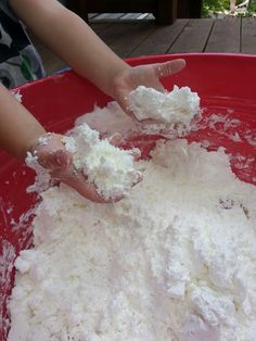 Fluffy Stuff - 2 boxes of cornstarch and 1 can shaving cream - moldable - can add color if desired. Sounds super fun!