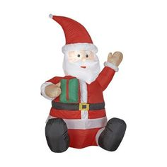 Gemmy Industries Airblown Outdoor Santa with Small Green Present -- Want additional info? Click on the image.