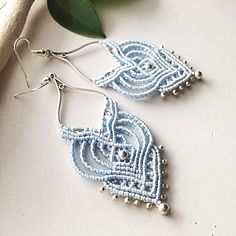 Macrame earrings DIY sky blue earrings long earrings