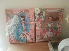 Ballerina's bewerkt op canvas