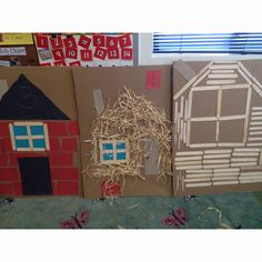 Book study: 3 little pigs. Using recycled art to make houses on flat cardboard pieces. Idea by Mary Helen @ Farmington.