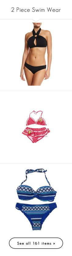 """2 Piece Swim Wear"" by thesassystewart on Polyvore featuring swimwear, bikinis, black, 2 piece swimsuits, high neck bathing suit, tie-dye bathing suits, two piece bikini, two piece swimsuit, bikini two piece and bikini beachwear"
