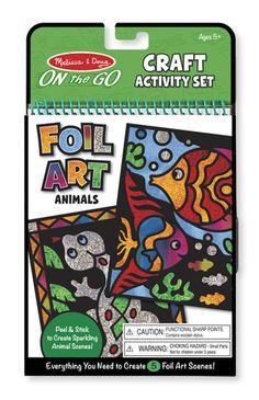 On-the-Go Crafts - Foil Art Animals: This activity set lets children make crafts that truly sparkle! Beautiful shimmering foil-leaf artwork is easier to create than you'd think with this peel-and-stick craft. Simply pick a scene, peel away a die-cut section of paper, and press the foil sheet over the sticky surface. When the sheet is lifted away, the shining foil remains just where you want it! The amazing results and creative possibilities appeal to all ages.