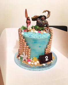 Moana themed cake my sister made Moana Birthday Party, 2nd Birthday, Moana Cake Design, Moana Theme Cake, Bolo Da Minnie Mouse, Bolo Moana, Bithday Cake, 40th Cake, Disney Cakes