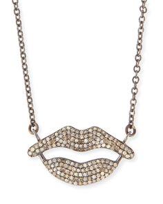 Pavé Diamond Lips Pendant Necklace - Siena Jewelry