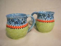 2 SETS OF 2 ceramic MUGS coffee or tea Green Orange by herbagepots, $36.00