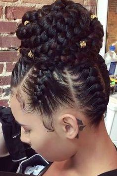 Updo jumbo box braids hairstyles for black woman # Braids for girls black Jumbo box braids hairstyles - Inspired Beauty Black Prom Hairstyles, Braided Ponytail Hairstyles, Easy Hairstyles For Medium Hair, Asymmetrical Hairstyles, Braided Hairstyles For Black Women, Braids For Black Women, Braids For Black Hair, Box Braids Hairstyles, Girl Hairstyles