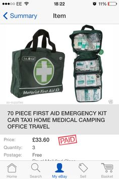 First aid 1 Kit Cars, First Aid, My Ebay, Lunch Box, Medical, Bags, Handbags, Bento Box, Totes