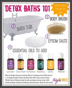 I love taking detox baths. So simple, but they make you feel wonderful! Also, this links to where you can order your own oil kit! #essentialoils