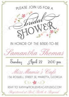 vintage floral bridal shower invitation diy by tickledpeachstudio 1000