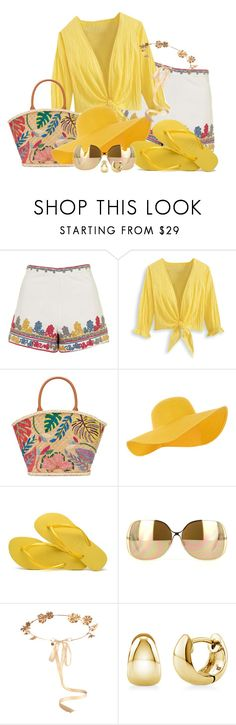 """""""Flip Flop- Contest Entry"""" by no-where-girl ❤ liked on Polyvore featuring Topshop, Tory Burch, Accessorize, Havaianas, Victoria Beckham, Eugenia Kim and BERRICLE"""
