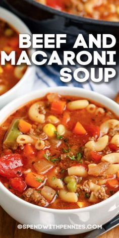 Beef and Macaroni soup is a hearty weeknight meal. Ready in 35 minutes it is made with ground beef, mixed veggies, a flavorful tomato broth, and macaroni! Serve sprinkled with cheese and side of garlic toast. recipes with ground beef Macaroni Soup Recipes, Beef Macaroni, Easy Soup Recipes, Dinner Recipes, Cooking Recipes, Homemade Soup, Homemade Vegetable Soups, Soup And Sandwich, Chili Con Carne