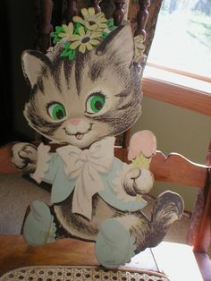 Vintage Kitty Cat Wall Hanging