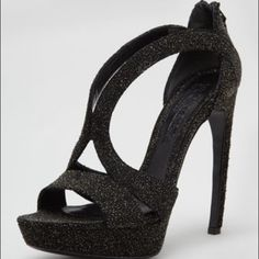 "Alexander McQueen High-Heel Black Sandal 10 NWT Alexander McQueen High-Heel Double-Arched Crystallized Sandal, Black.  40/10 NWT & original box.  5 1/4"" covered, bowed heel; 1"" platform lowers the pitch to 4"" Alexander McQueen Shoes"