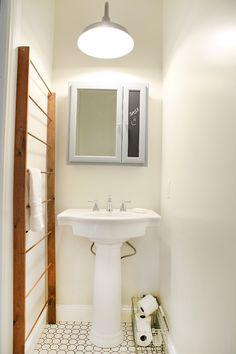 TLovely Towel Rack Decoration ideas for appealing Bathroom Farmhouse design ideas with chalk board half bath mirror powder room small bathroo...