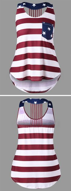 This open back tank top features patriotic American Flag print and curved high low hemline. Strappy back and contrast patch pocket on the bust for added appeal. Easy to match jeans or shorts. Not only for the Independence Day but also for the Remembrance Day.