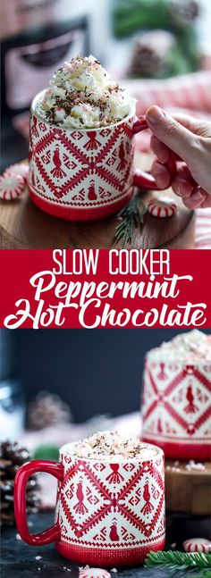 Make a big batch of this Slow Cooker Peppermint Hot Chocolate for your next winter party!  This peppermint hot cocoa is rich, creamy and super chocolaty!