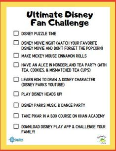 Since we are all stuck inside, I'm sure you and your family are craving some Disney fun at home! Here are some fun ideas to create a little Disney magic at home with your family with the Ultimate Disney Fan Challenge! Disney Destinations, Disney Vacations, Disney Trips, Disney Live, Disney Fun, Disney Magic, Inside Out Characters, Disney Crafts For Kids, Disney Puzzles