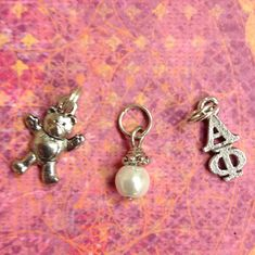 Greek Alpha Phi Sorority Charm set - mascot teddy bear charm, lavaliere, & pearl dangle by AnnPedenJewelry on Etsy