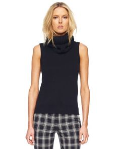 B1YGU Michael Kors  Removable-Collar Knit Shell, Black  michaelkors.com