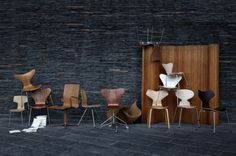 Wooden chairs by Arne Jacobsen