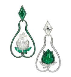 Boghossian emerald and diamond Lotus earrings
