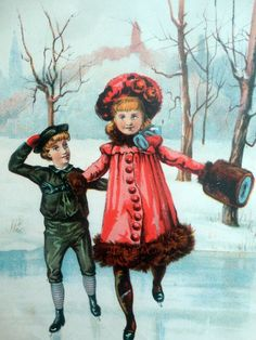 Victorian Christmas, Christmas Pictures, Ice Skating, Skate, Im Not Perfect, History, Antiques, Children, Cards