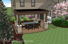 Pergola Shades Patio with Grill Pad | Patio Designs and Ideas